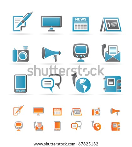 Communication channels and Social Media icons - vector icon set - stock vector