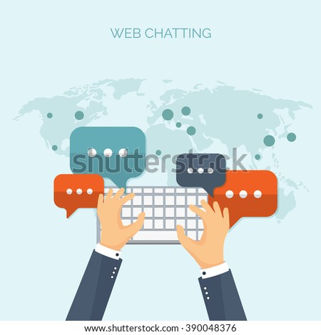 Communication,chatting.Flat style.Social media app,mobile instant messenger,web chat.International social network.Virtual communication and media sharing.Email message.Social media marketing strategy. - stock vector