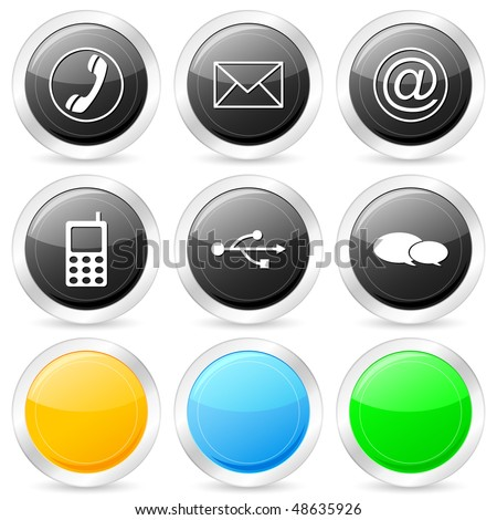 Communication circle icon set on a white background. Vector illustration. - stock vector
