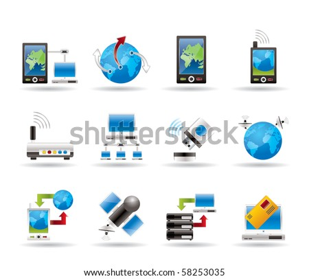 communication, computer and mobile phone icons - vector icon set
