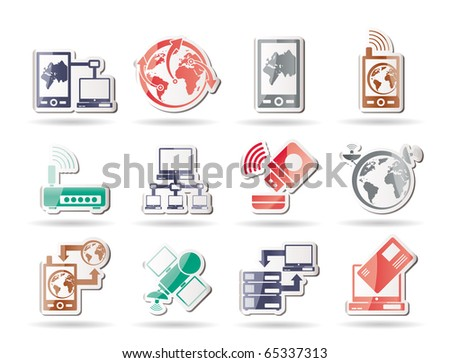 communication, computer and mobile phone icons - vector icon set - stock vector