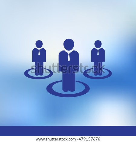 Communication concept crowd of people. Isolated on blue