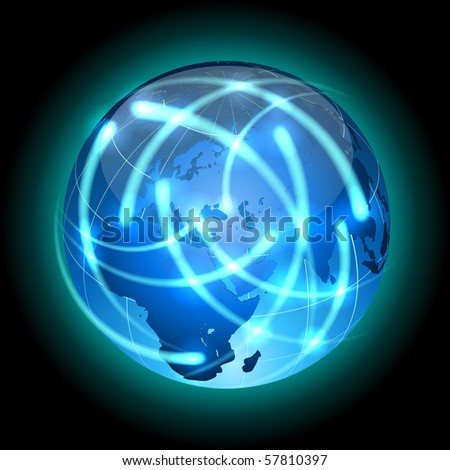 Communication concept. Globe with light traces rotating around. - stock vector