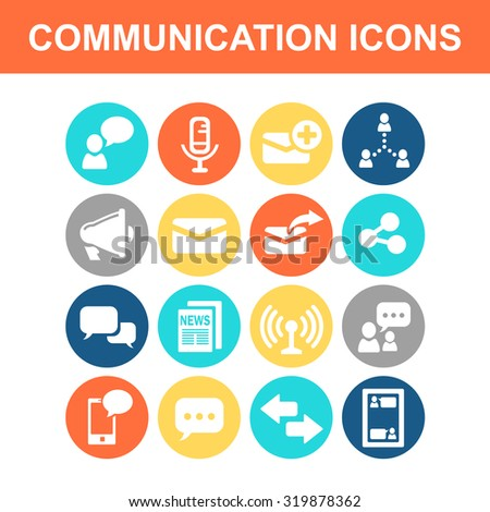 Communication concept icon set - Flat Series - stock vector