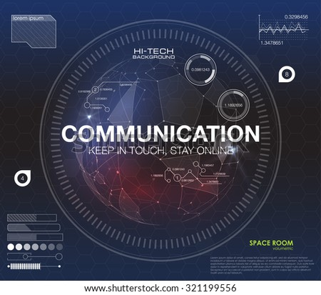 """Communication concept in HUD style. The word """"communication"""" HUD design with speech. Absrtract vector illustration. For infographic elements, futuristic user interface HUD  - stock vector"""