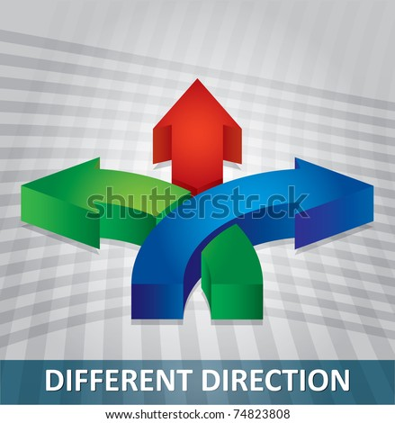 Communication concept with different arrows - stock vector