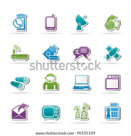 Communication, connection  and technology icons - vector icon set - stock vector