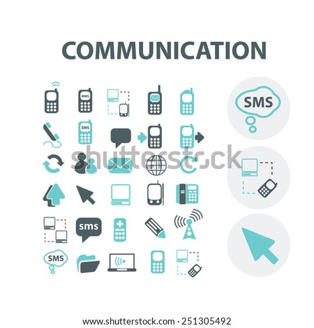 communication, connection, community, internet, network, link, smartphone, social media isolated design flat icons, signs, illustrations vector set on background - stock vector