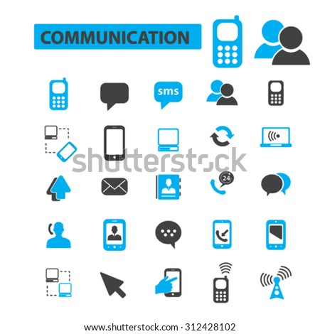 Communication, connection icons concept. Phone icon, email icon, telephone icon. Vector illustration set - stock vector