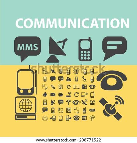 communication, connection, internet black flat icons, signs, symbols set, vector - stock vector