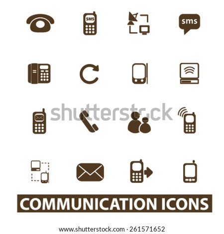 communication, connection isolated icons, signs, illustrations collection concept design set for web and application on background, vector - stock vector