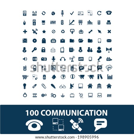 communication, connection, network, phone, internet icons set, vector - stock vector