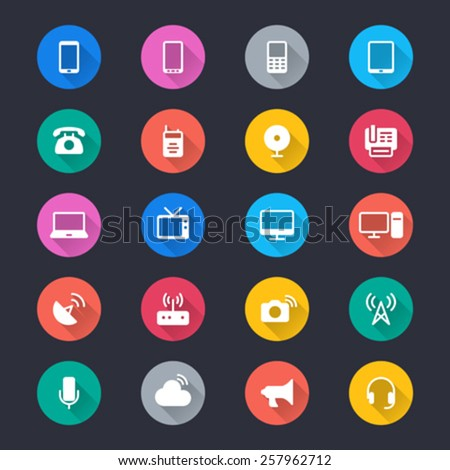 Communication device simple color icons - stock vector