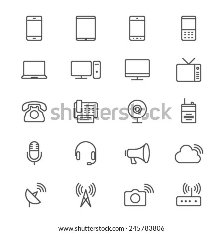 Communication device thin icons - stock vector