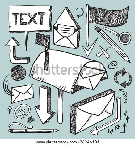 Communication doodles set. Hand-drawn vector image.