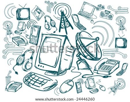 Communication Doodles - Vector - stock vector
