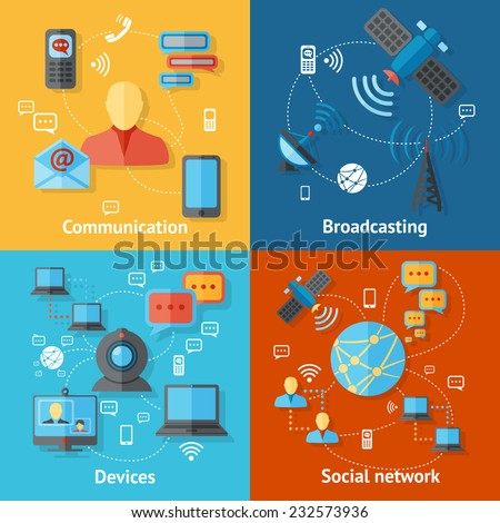 Communication flat icons set with broadcasting social network devices elements isolated vector illustration - stock vector