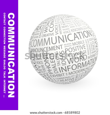 COMMUNICATION. Globe with different association terms. Vector illustration. - stock vector