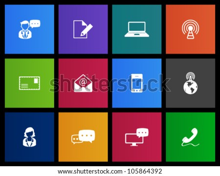 Communication icon series in Metro style. - stock vector