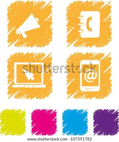 Communication icon set-3 - stock vector