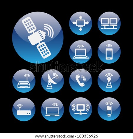 Communication icon set for internet
