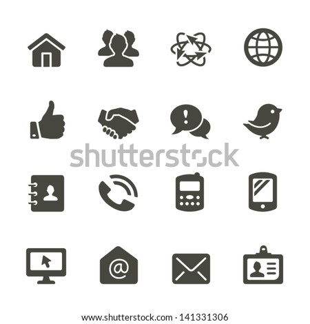 Communication icon set. Rounded Set 2. - stock vector