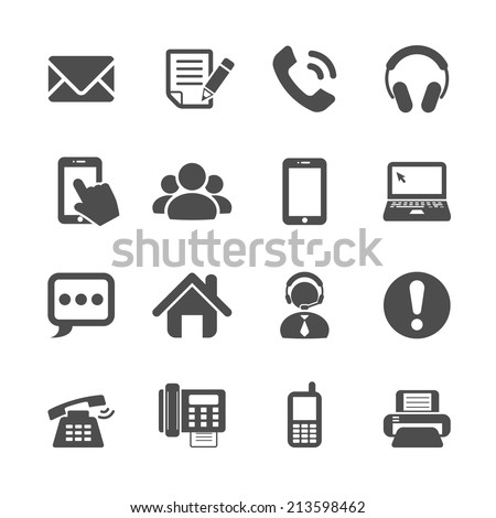 communication icon set, vector eps10 - stock vector