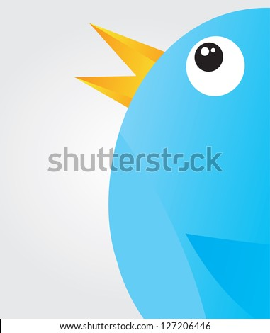 Communication icon with a big bird over white background - stock vector