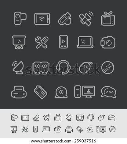 Communication Icons // Black Line Series -- EPS 10+ Contain Transparencies - stock vector