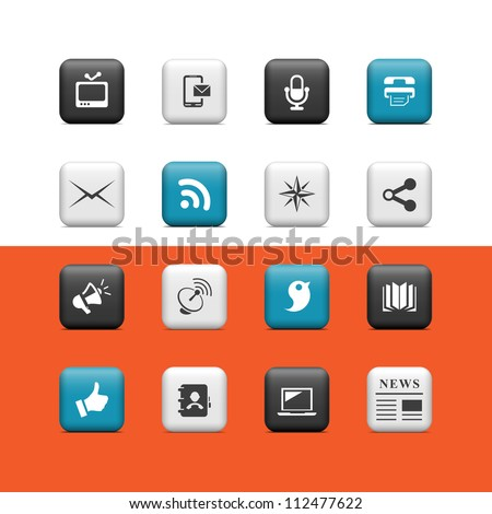 Communication icons. Buttons - stock vector