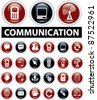 communication icons, buttons, signs, vector illustrations - stock vector