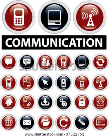 communication icons, buttons, signs, vector illustrations
