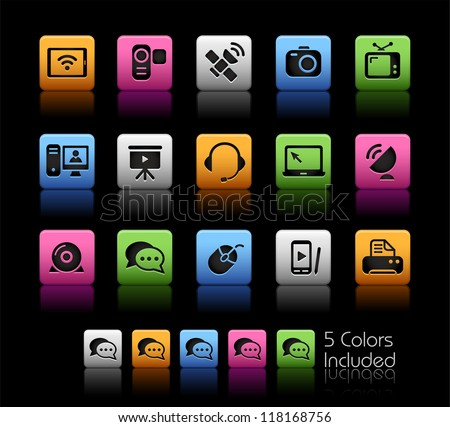 Communication Icons // Color Box------It includes 5 color versions for each icon in different layers ------ - stock vector