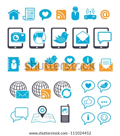 Communication icons for mobile mail chat - stock vector