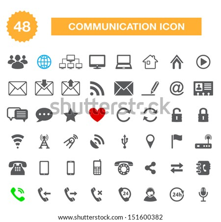 Communication icons for web - vector internet icons set - stock vector