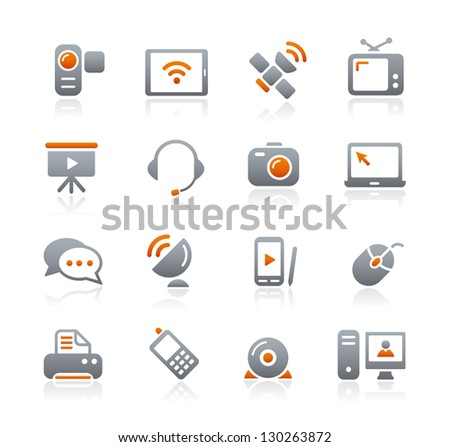 Communication Icons // Graphite Series - stock vector
