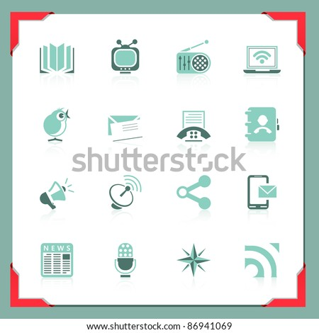 Communication icons | In a frame series - stock vector