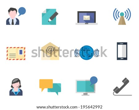 Communication icons in flat colors - stock vector