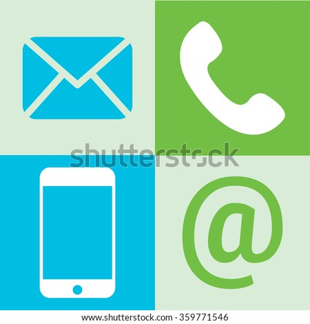 communication icons: mobile phone, massage. eps 10. - stock vector