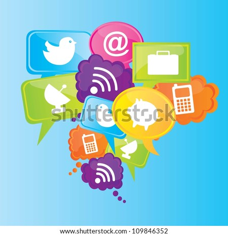 Communication icons over blue background vector illustration - stock vector