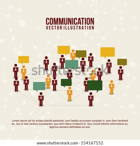 communication icons over circuit pattern  background vector illustration   - stock vector