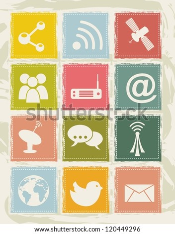 communication icons over grunge background. vector illustration