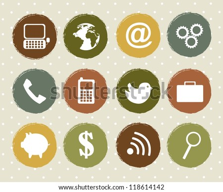 communication icons over vintage over background. vector - stock vector