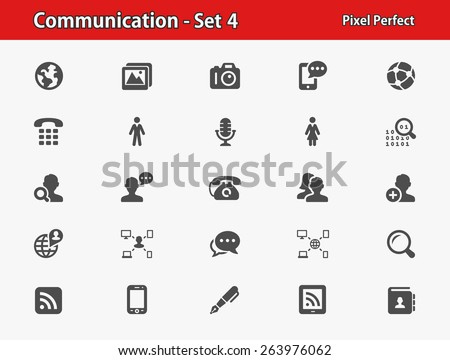 Communication Icons. Professional, pixel perfect icons optimized for both large and small resolutions. EPS 8 format. - stock vector