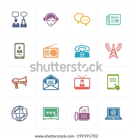 Communication Icons Set 2 - Colored Series  - stock vector