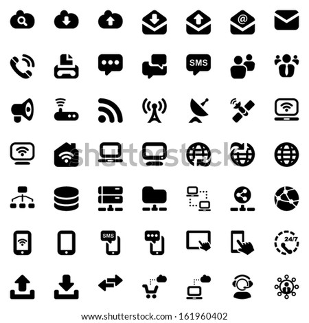 Communication icons set in black - stock vector