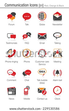 Communication icons set 01 (red, orange and black) - stock vector