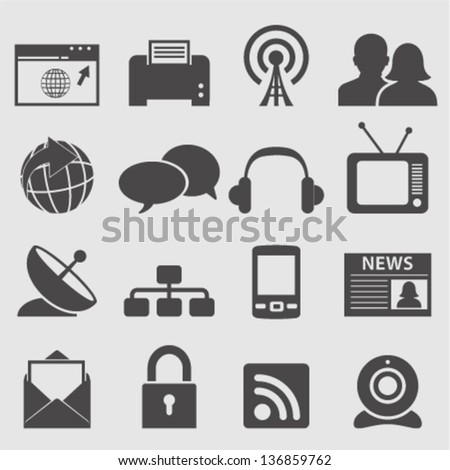 Communication icons set.Vector - stock vector