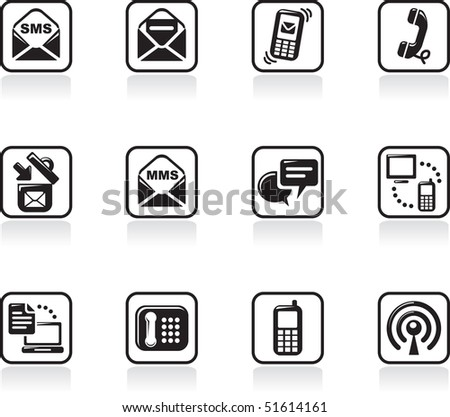 communication icons set. vector design - stock vector