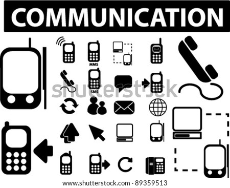 communication icons set, vector illustrations - stock vector